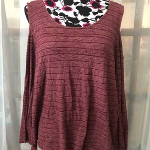 Lucky Brand xxl 2x Cold Shoulder Top long sleeves